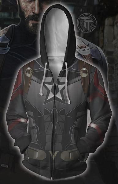 The Avengers Endgame Captain America Zip Up Hoodie MZH808 - icoshero