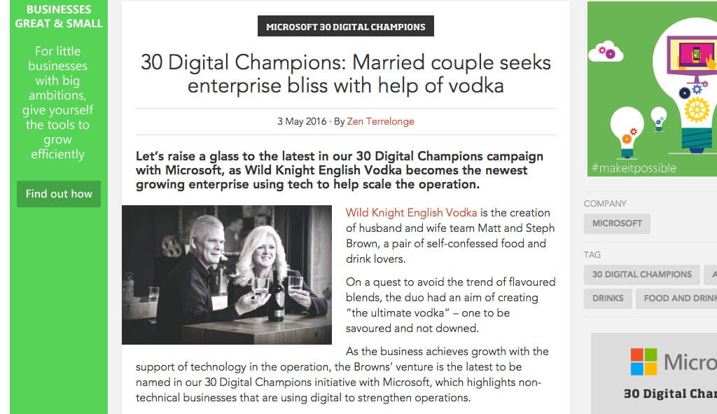 30 Digital Champions: Married couple seeks enterprise bliss with help of vodka, May 3, 2016