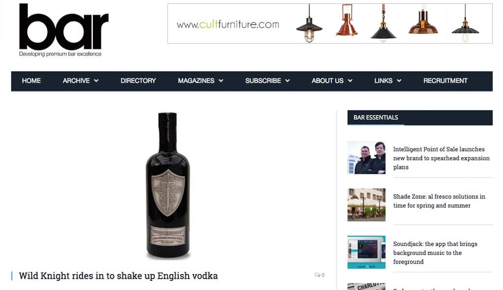 Wild Knight rides in to shake up English vodka, March 31, 2016
