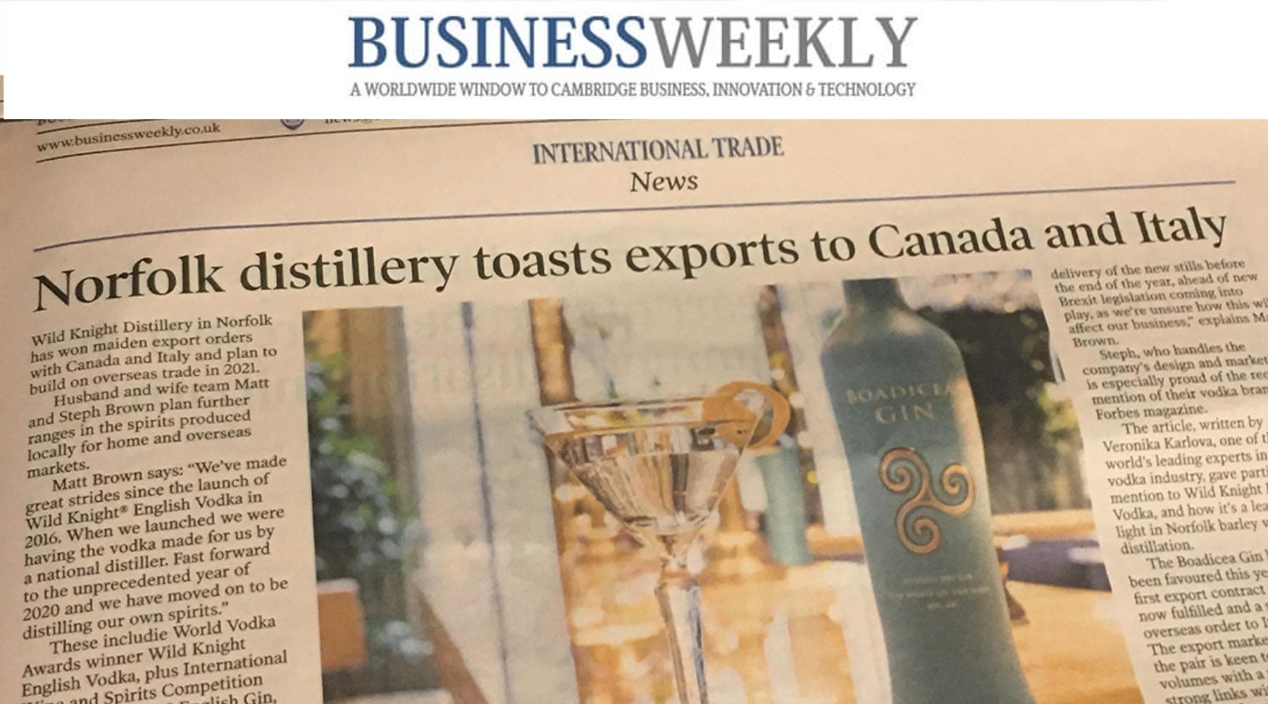 Norfolk distillery toasts exports to Canada and Italy