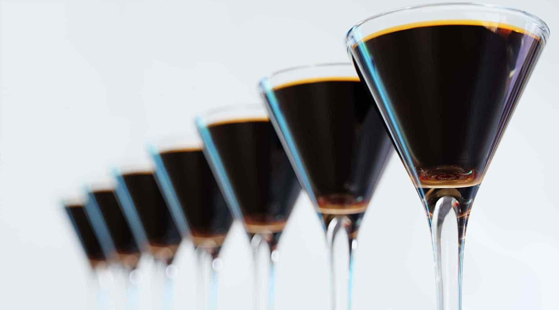 A line of Espresso Martini