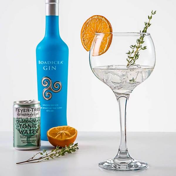 Boadicea Gin is perfect sipped over an ice cube, but is also the star in many cocktails. A 'Boadicea Gin Thyme' is one of our favourites. Top up with tonic and garnish with orange and thyme.