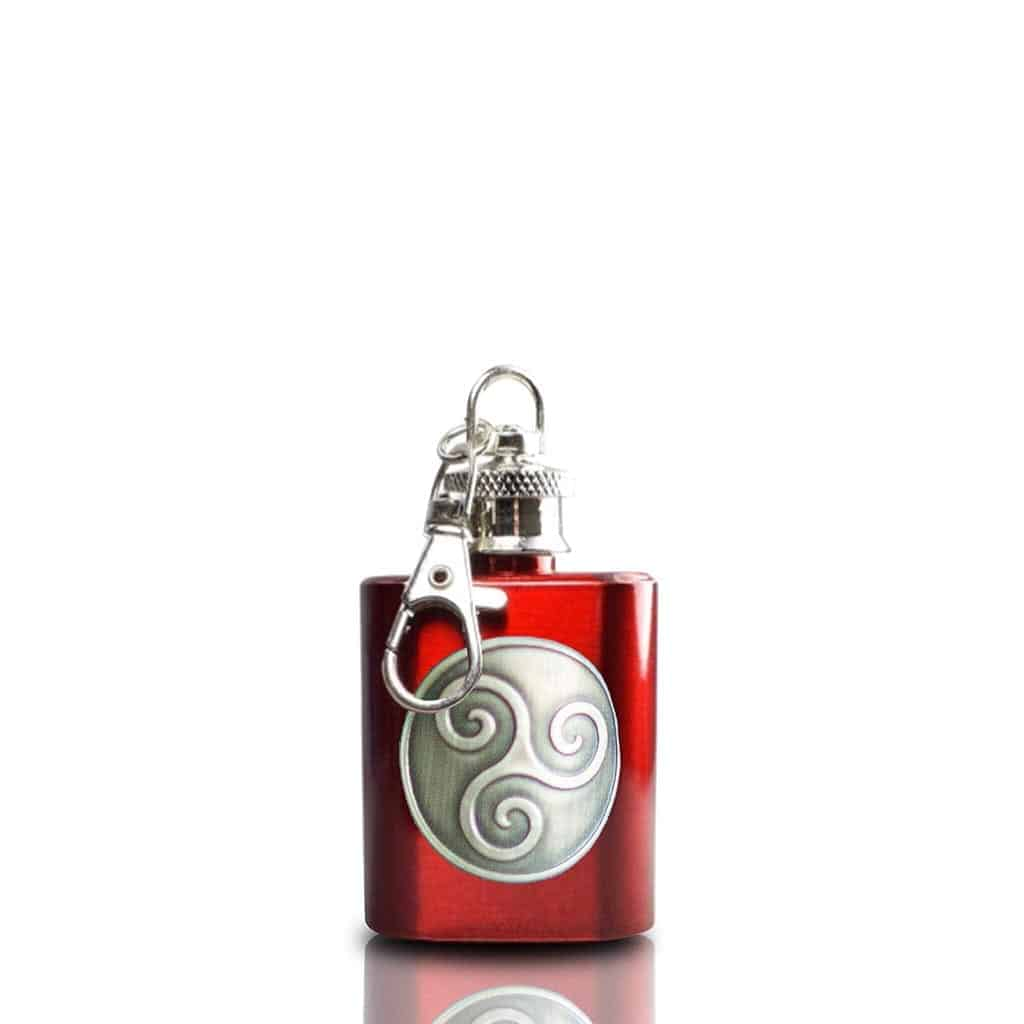 Boadicea® Gin key ring hip flask, red