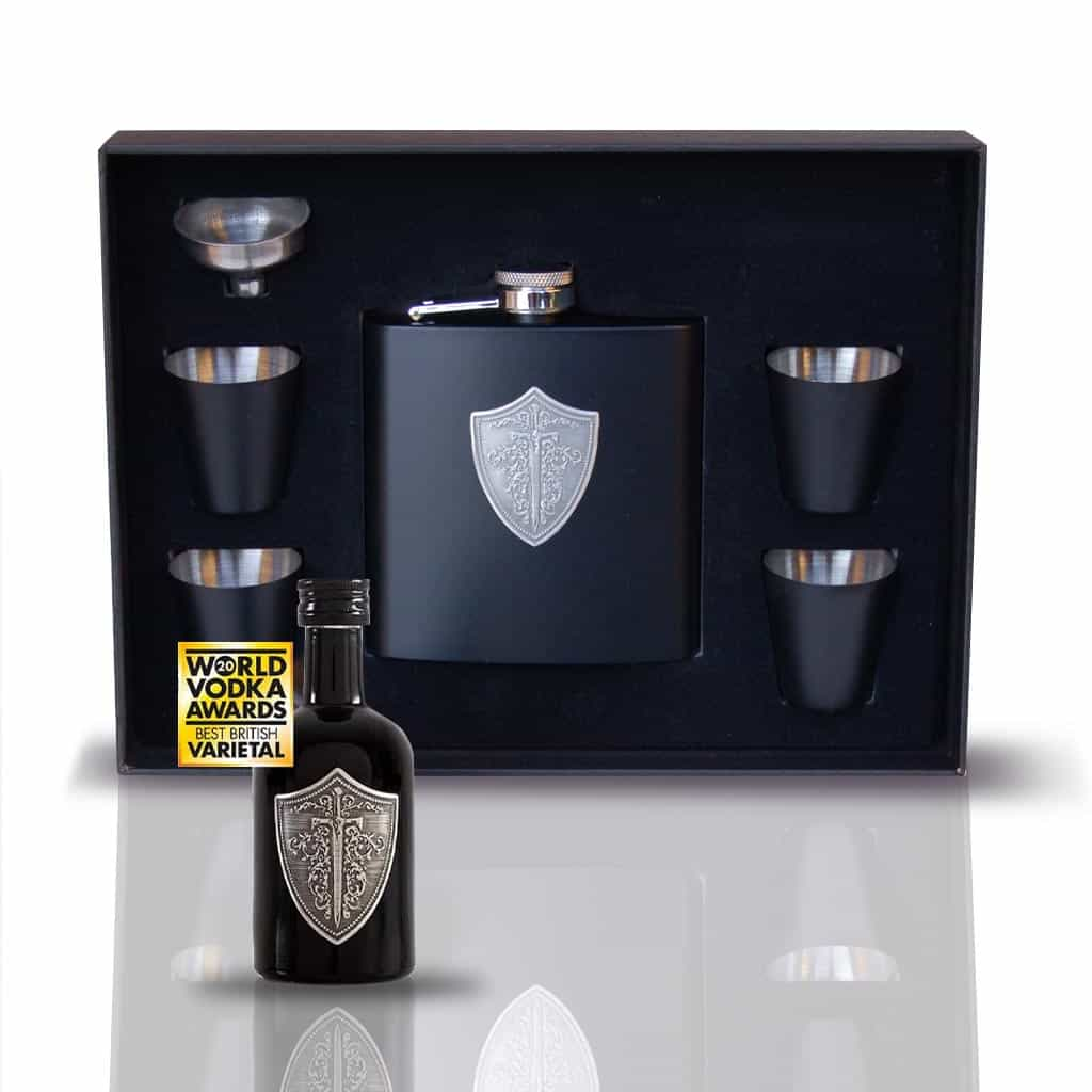 Gift Set: Wild Knight® English vodka hip flask and cups, plus 5cl miniature