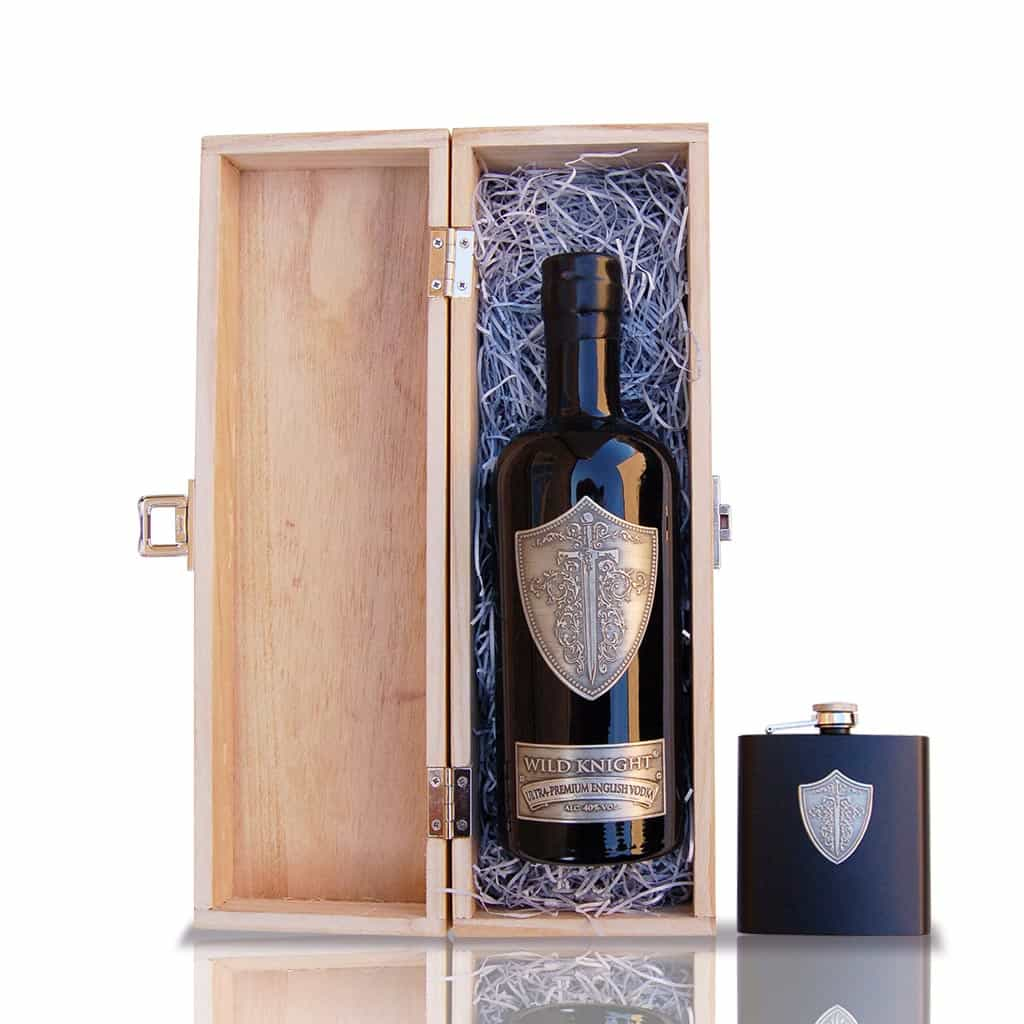 Gift Set: Wild Knight® Ultra-Premium English Vodka, 70cl and Hip Flask