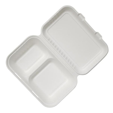 "Dispo Disposable Tableware 9"" x 6"" / 250 Boxes Bagasse 2 Section Lunch Boxes"