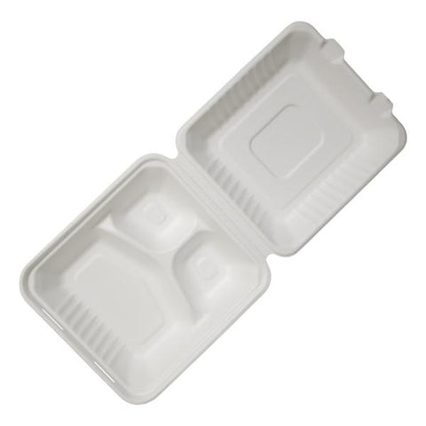 Bagasse 3 Section Meal Boxes