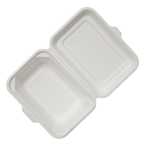 "Dispo Disposable Tableware 7"" x 5"" / 600 Boxes Bagasse Clamshell Lunch Boxes"
