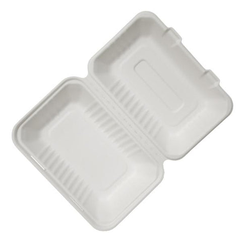 "Dispo Disposable Tableware 9"" x 6"" / 250 Boxes Bagasse Lunch Boxes"