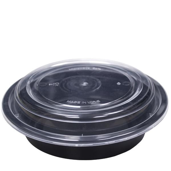 H Pack Container Black Base Microwavable Round