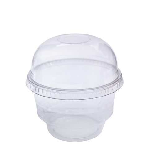 Dispo Ice Cream Tubs 6oz / Domed Lids - No Hole / 1000 Tubs PET Ice Cream Pots