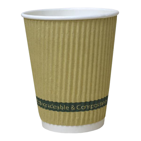 Dispo Ripple Wall Paper Cups Ingeo Compostable Kraft Ripple