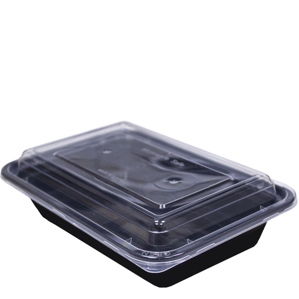 H Pack Container Black Base Microwavable Container