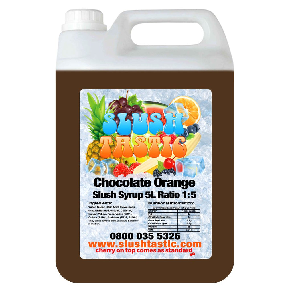 Corporate Vending Slush Syrup 5L Bottle Slushtastic Syrup Chocolate Orange