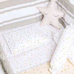 Organic Cotton Fitted Cot Sheet – Starry Night (Cream)
