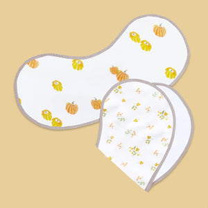 Bamboo Muslin + Terry Burp Cloth & Bib (Pack of 2) - Our Little Pumpkin