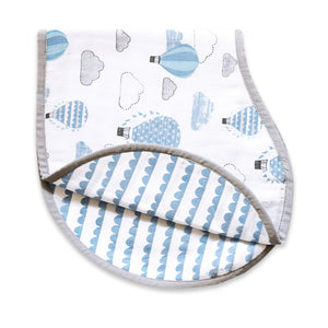 Organic Muslin Burp Cloth & Bib – Up, Up & Away (Blue)