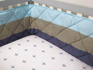 Nursery Basics Quilted Cot Bumper – Blue