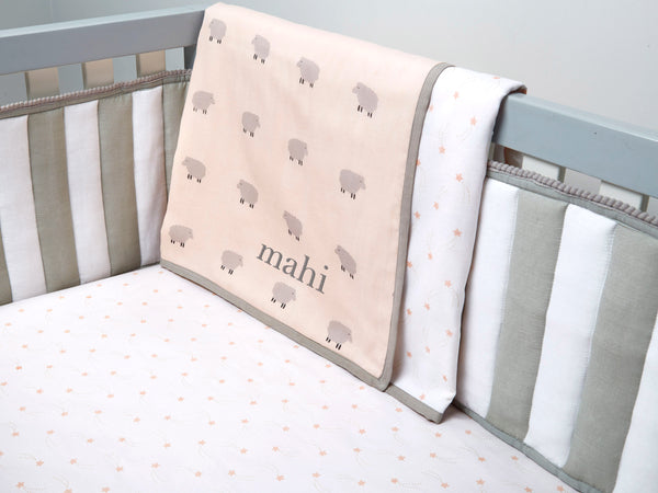 'Counting Sheep' Organic Cot Bedding Set (Peach)