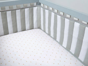 Nursery Basics Quilted Cot Bumper – Grey Stripe