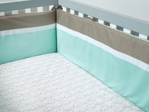 Cot Bumper with Removable Zip Cover - Mint/Chevron