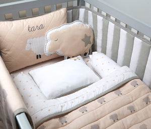 'Counting Sheep' New Baby Mini Cot Set (Peach)