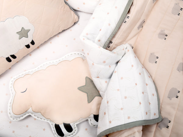 'Counting Sheep' Organic Shape Cushion (Peach)