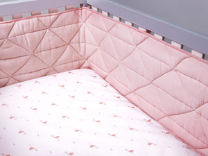 Nursery Basics Quilted Cot Bumper – Blush Pink