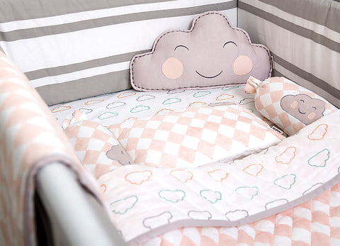 'Happy Cloud' Organic Cot Bedding Set (Peach)