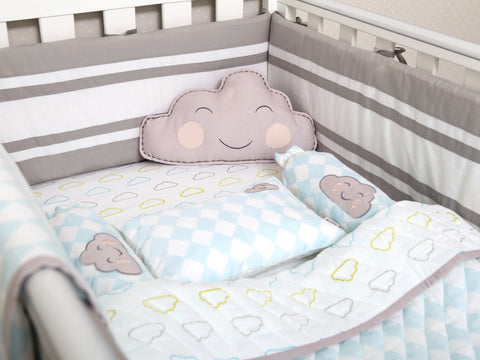 'Happy Cloud' Organic Cot Bedding Set (Blue)