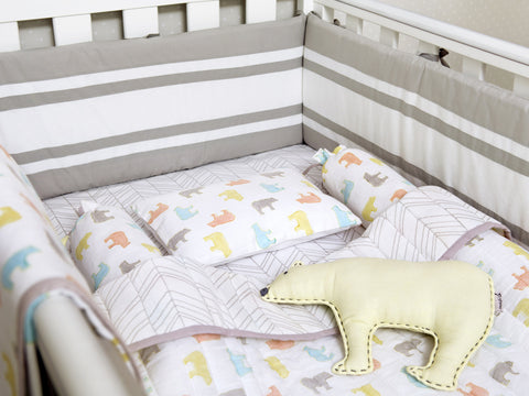 'Curious Bear' Organic Cot Bedding Set