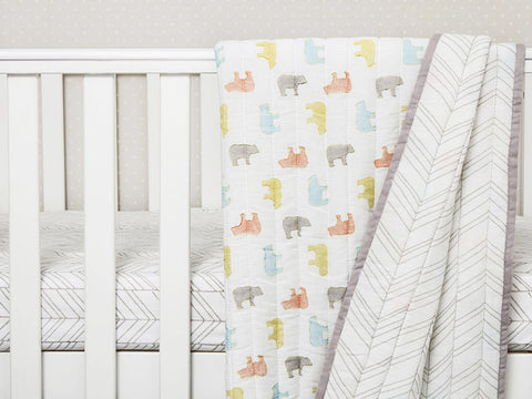 'Curious Bear' Organic Quilted Blanket