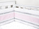 Cot Bumper with Removable Zip Cover - Pink/Stripe