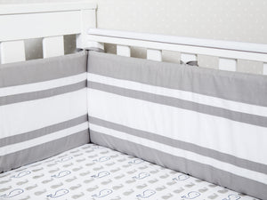 Cot Bumper with Removable Zip Cover - Grey/Quilted
