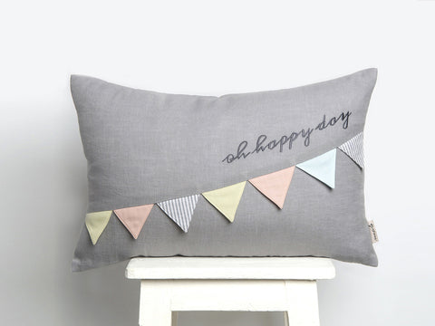 'Oh Happy Day' Linen Cushion