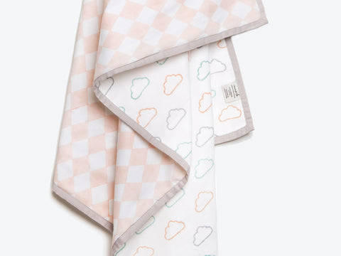 'Happy Cloud' Organic Dohar Blanket (Peach)
