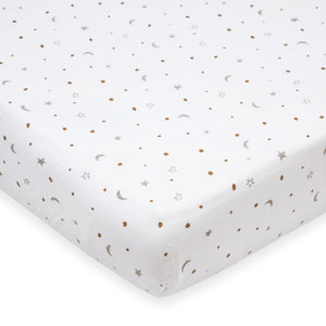 Organic Muslin Cot Bedding Set – Sleepy Star (Metallic)