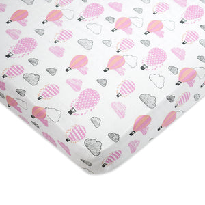 Organic Muslin Fitted Cot Sheet – Up, Up & Away (Pink)