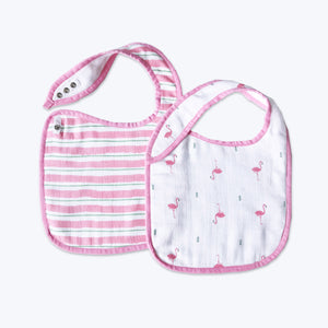 'Hello Flamingo' Organic Muslin Classic Bibs (Pack of 2)