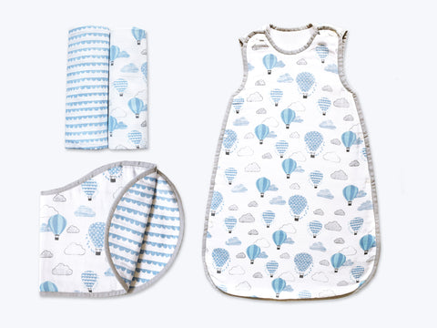 'Up, Up & Away' Hush Little Baby Organic Muslin Bundle (Blue)