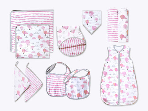'Up, Up & Away' Classic Organic Muslin Bundle (Pink)