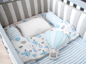 Mini Cot Set – Up, Up & Away (Blue)