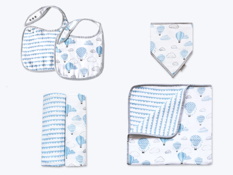 'Up, Up & Away' Classic Mini Organic Muslin Bundle (Blue)