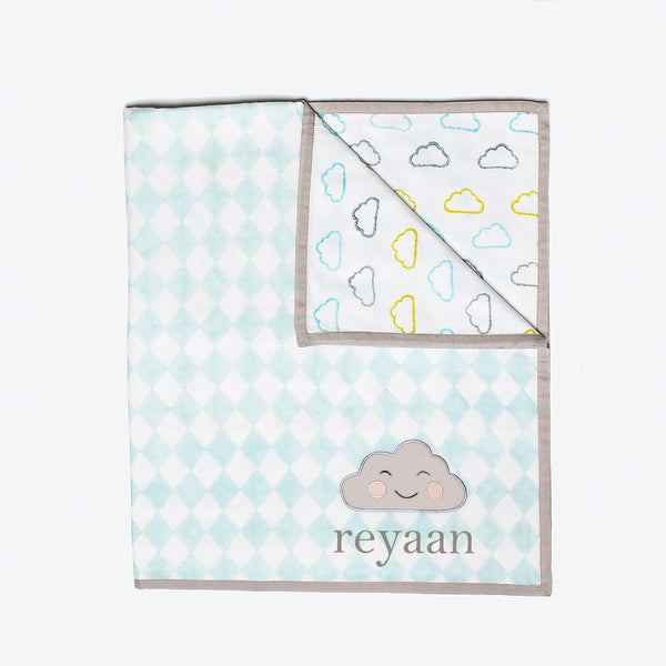 'Happy Cloud' Organic Dohar Blanket (Blue)