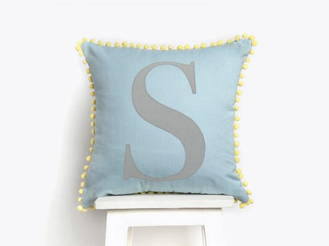 'Pom Pom' Monogram Cushion (Blue)