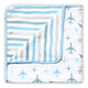 Organic Muslin Blanket - Up, Up & Away (Blue)