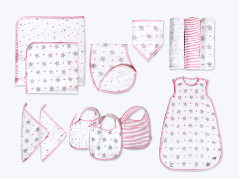 'Sleepy Star' Classic Organic Muslin Bundle (Pink)