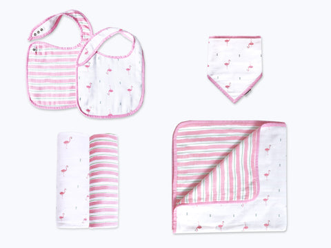'Hello Flamingo' Classic Mini Organic Muslin Bundle