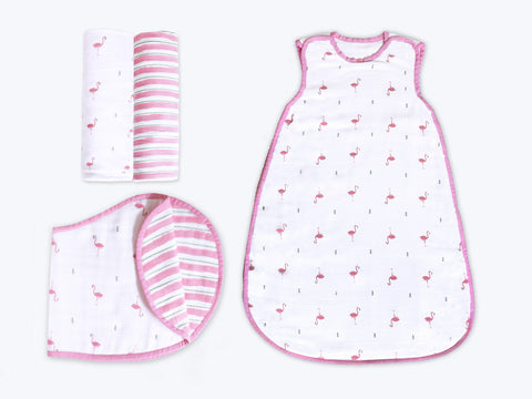 'Hello Flamingo' Hush Little Baby Organic Muslin Bundle