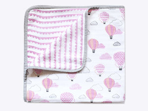 Organic Cot Bedding Set – Up, Up & Away (Pink)